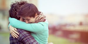 Romantic young couple hugging